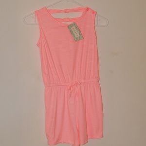 nwt pink stripped romper